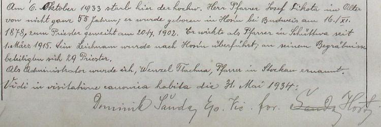 """Zápis v šitbořské farní kronice o jeho úmrtí, pod nímž vidíme záznam o """"vizitaci"""" Dominika Šandy z května 1934"""