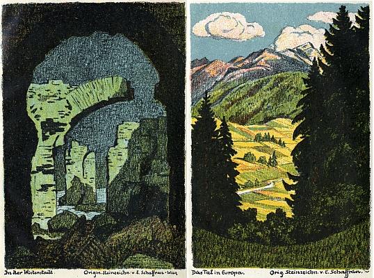 ... a dva barevné kamenoryty z téže knihy, jejichž autorem je Emerich Schaffran (1873-1961)