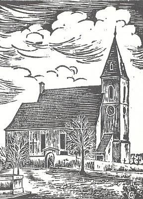 Kostel sv. Bartoloměje ve Ktiši, odkud pocházela maminka Reinholda Finka, v grafice Waltera Grössla