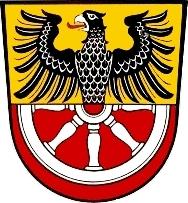 Znak města Marktredwitz, kde zemřel a kde je ipochován