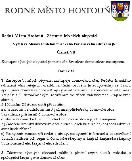 """Výtah ze stanov Sudetoněmeckého krajanského sdružení o jmenování a působení """"domovských zástupců"""""""