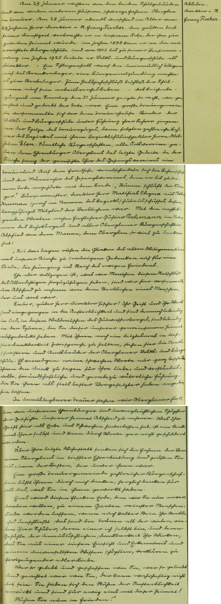 Zápis o jeho skonu 29. ledna 1937 ve školní kronice