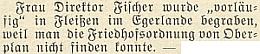 """Drobná zpráva o tom, že jeho žena byla """"předběžně"""" pohřbena v Plesné (Fleißen) na Chebsku, poněvadž hřbitovní řád v Horní Plané """"se nepodařilo najít"""""""