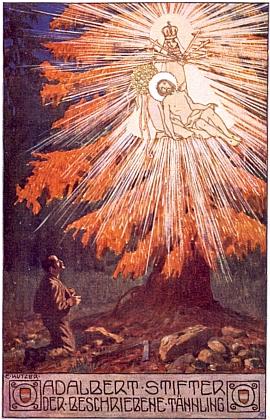Ernst Kutzer (1880-1965) takto zachytil hlavní motiv Stifterovy povídky Popsaná jedlička