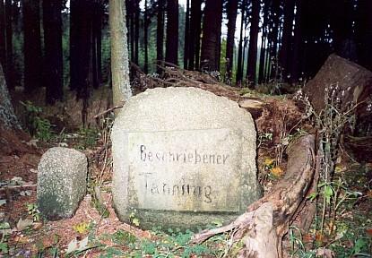 Původní památník Stifterovy Popsané jedličky v dnes nepřístupných lesích přiKnížecím stolci, který bohužel počátkem 21. století někdo ukradl