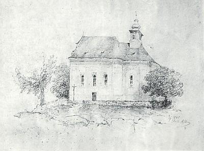 Kostelík na Dobrovodském vrchu na kresbě Adalberta Stiftera, který o něm píše právě i v povídce Popsaná jedlička