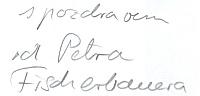 Obálka (2010) jeho obrazového alba k osobnosti Fritze Löhnera-Bedy, libretisty Lehárových operet, rodáka zÚstí nad Orlicí ajedné z osvětimských obětí nacistického holocaustu, sautorským věnováním
