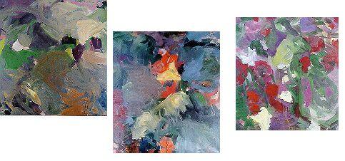 Tři obrazy z cyklu Růže a skály umístěného v Bavorském státním kancléřství v Mnichově