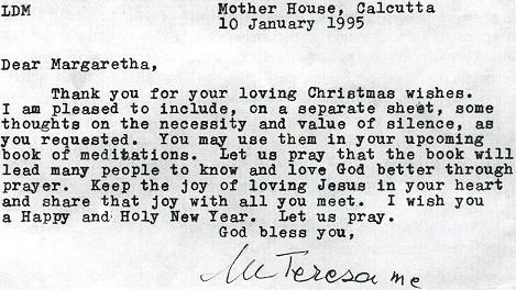 Dopis Matky Terezy jako předmluva knihy Wege zur Mitte