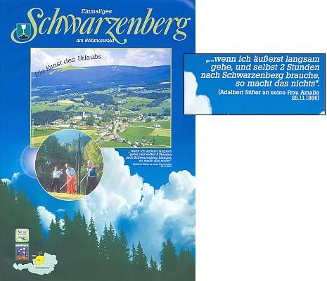 Turistický prospekt (2006) Schwarzenbergu s citátem z dopisu Adalberta Stiftera jeho ženě