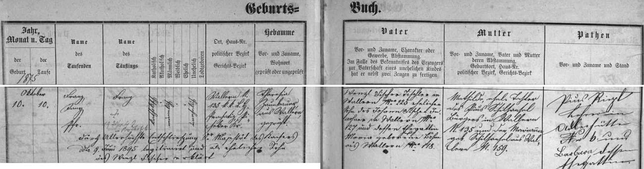 Záznam volarské křestní matriky o narození Franze Fischera