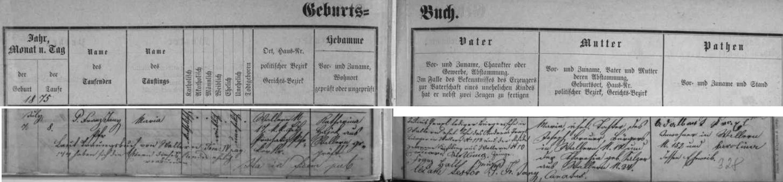 Záznam  volarské křestní matriky o narození Marie Praxlové