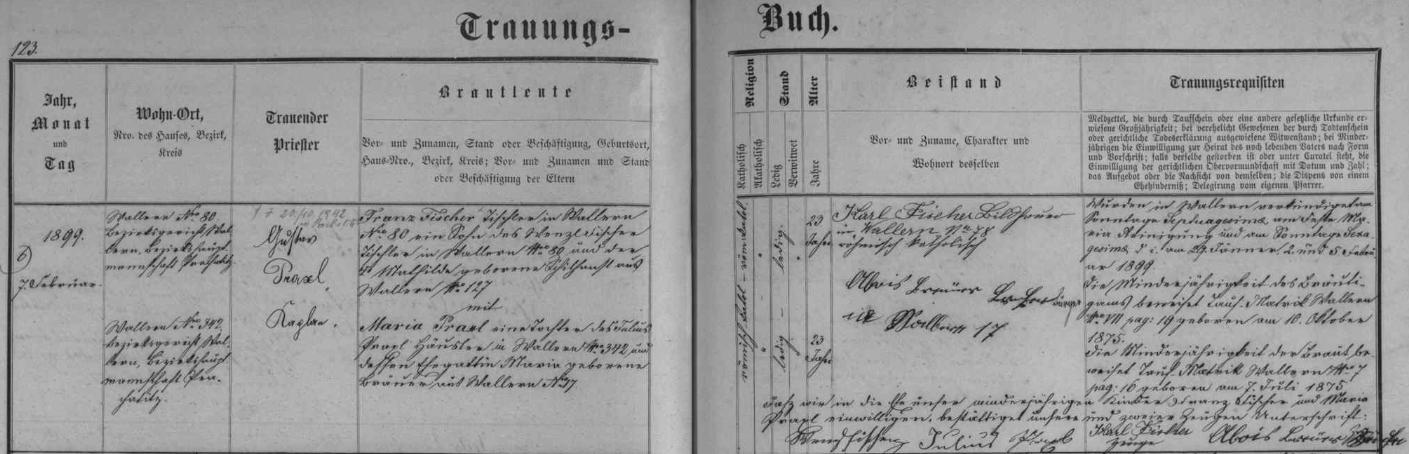 Záznam  volarské oddací matriky o svatbě Franze Fischera a Marie Praxlové