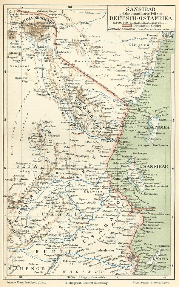 Mapa Německé východní Afriky z roku 1892