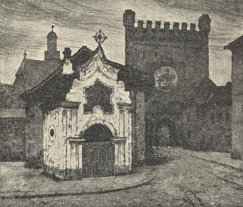 Horní brána v Prachaticích na jeho grafice