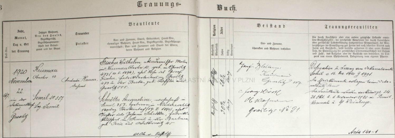 Podle tohoto záznamu kraslické oddací matriky ho 22. listopadu 1920 ve zdejším děkanském kostele Božího Těla kaplan Josef Fouska oddal s Augustinou Schrötterovou, bytem v Semilech (Semil) čp. 357, narozenou 19. února 1890 v Rokytnici nad Jizerou (Nieder Rochlitz) čp. 140 jako manželská dcera továrenského kočího v Semilech Johanna Schröttera a jeho ženy Barbary, roz. Jericové z Vítkovic (Witkowitz) čp. 45 - ženich byl tehdy bytem v Českém Krumlově, Horní brána (Obertor) čp. 10