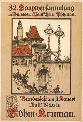 Příležitostná pohlednice k valné hromadě a slavnosti spolku Bund der Deutschen in Böhmen v Krumlově s motivem Budějovické brány na Fischerově kresbě