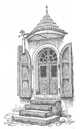 """Jím signovaný motiv dveří někdejšího domu """"Wachszieherhaus"""" tj. """"u voskaře"""" veVimperku"""