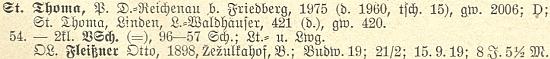 Záznam s jeho jménem v seznamu německého učitelstva v Čechách z roku 1928