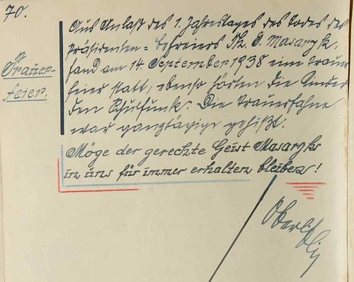 """Jeho zápis k prvému výročí úmrtí TGM 14. září 1938, tj. dva týdny před osudnou mnichovskou """"dohodou"""""""