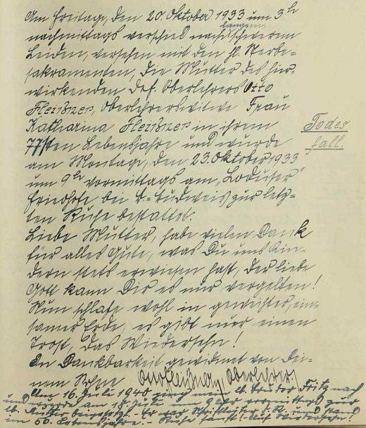 Jeho zápis o smrti matčině (a přípis o smrti bratrově) ve svatotomášské školní kronice