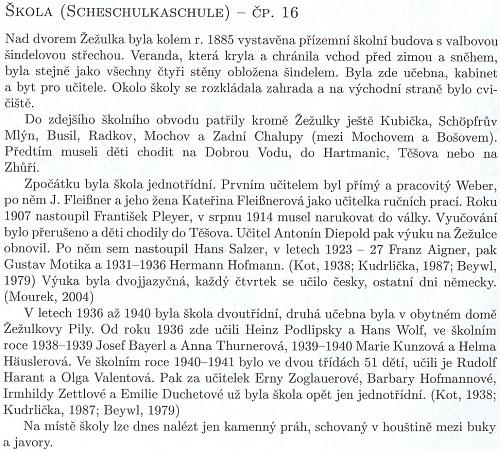 O škole v Žežulce, kde učil jeho otec a také Heinz Podlipsky (viz i Zephyrin Beywl)