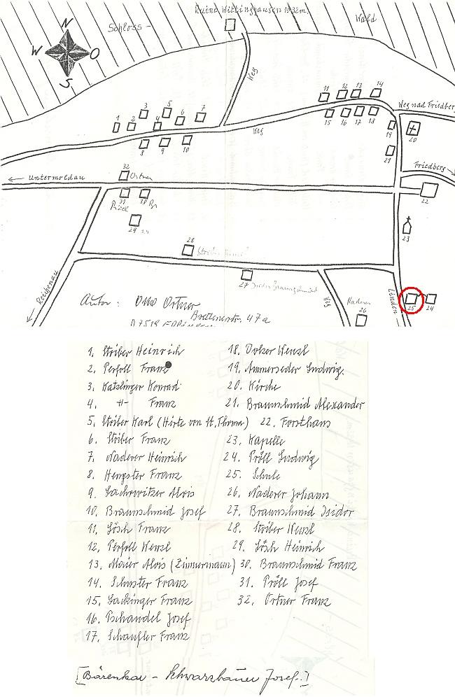 Plánek, jehož autorem je Otto Ortner, zachycuje s orientací světových stran osadu Svatý Tomáš     i se jmény majitelů jednotlivých stavení (škola měla čp. 25)