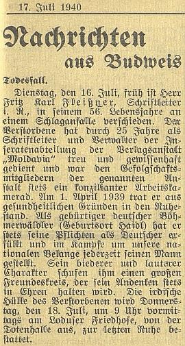 Nekrolog bratrův na stránkách budějovického německého listu