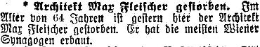 Dvě zprávy o jeho úmrtí ve vídeňském tisku - v Illustrierte Kronen Zeitung ovšem s chybně uvedeným stářím zemřelého