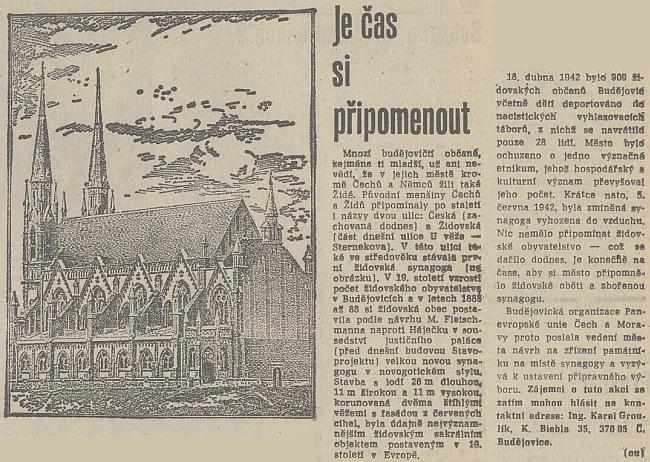 """Zpráva o chystaném zřízení památníku synagogy, iniciovaném mj. Karlem Groulíkem, uvádí, že stavba vznikla """"podle návrhu M. Fleischmanna""""!"""