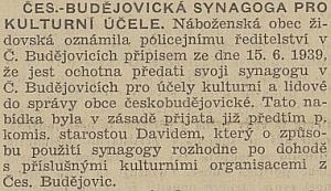 """Neuvěřitelná zpráva českobudějovického protektorátního listu o použití synagogy """"pro kulturní účely""""     i se zmínkou o údajné dohodě starosty Davida s """"příslušnými kulturními organizacemi"""""""