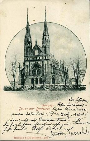 Českobudějovická synagoga na starých pohlednicích (viz i Peter Becher, Jakob Fried a Israel Kohn)
