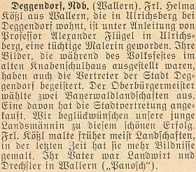 Tady se o ní píše v roce 1956 ještě jako o slečně Helmě Kößlové z Volar