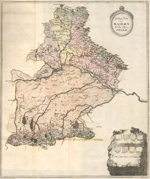 """Jeho """"Gebirgs-Karte von Baiern und der Ober-Pfalz"""" z roku 1792"""