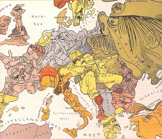 Kresba pražského rodáka Waltera Triera (1890-1951) Karte von Europe imJahre1914