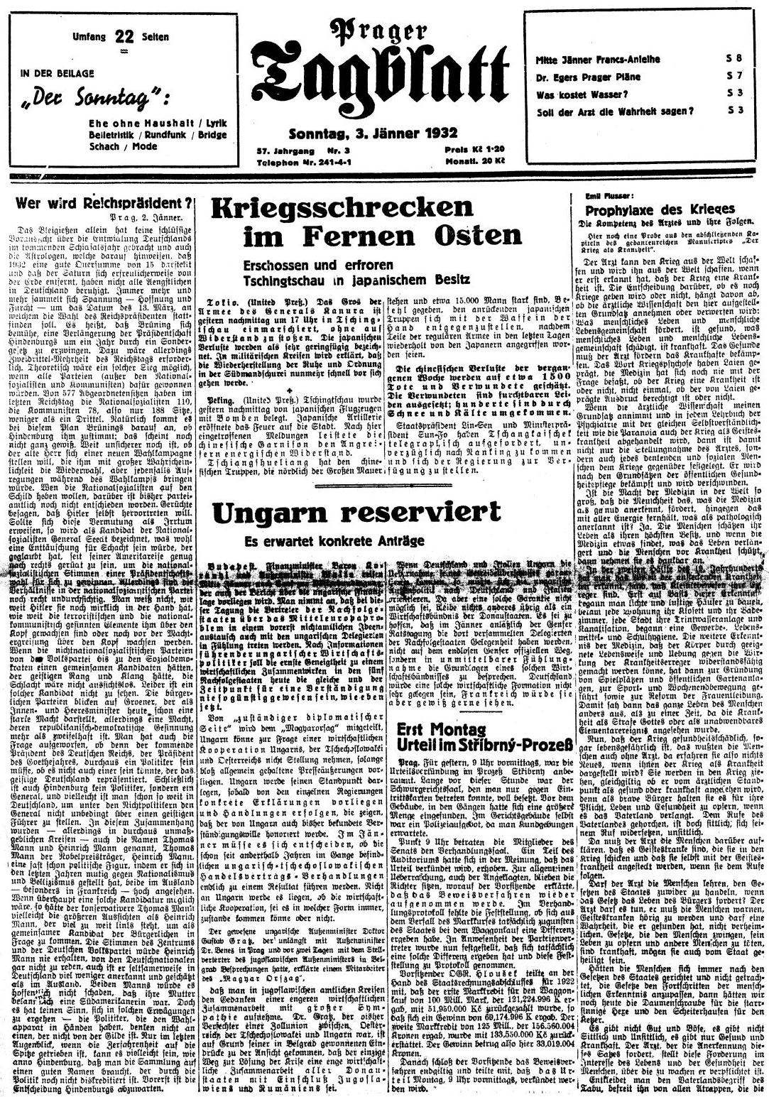 """Prvá strana čísla proslulého pražského německého listu z 3. ledna roku 1932 s ukázkou z jeho knihy """"Válka jako nemoc"""" (nahoře vpravo)"""