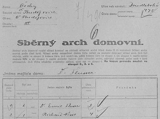 """Záhlaví sběrného archu sčítání lidu z roku 1921 pro dům čp. 475 na""""Doudlebskétřídě"""""""