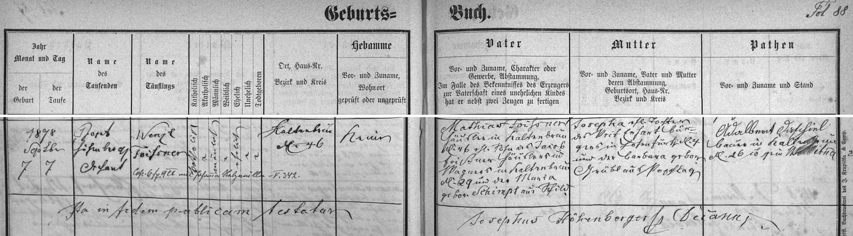 Záznam vyšebrodské křestní matriky o narození otcově roku 1878