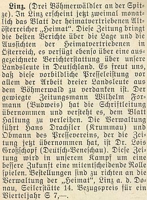 """V Linci, tj. v sovětské okupační zóně Rakouska, se stal podle této zprávy v krajanském měsíčníku z roku 1952 šéfredaktorem listu """"Starorakušanů vyhnaných z domova"""" vycházejícího tam dvakrát měsíčně pod názvem """"Heimat"""""""