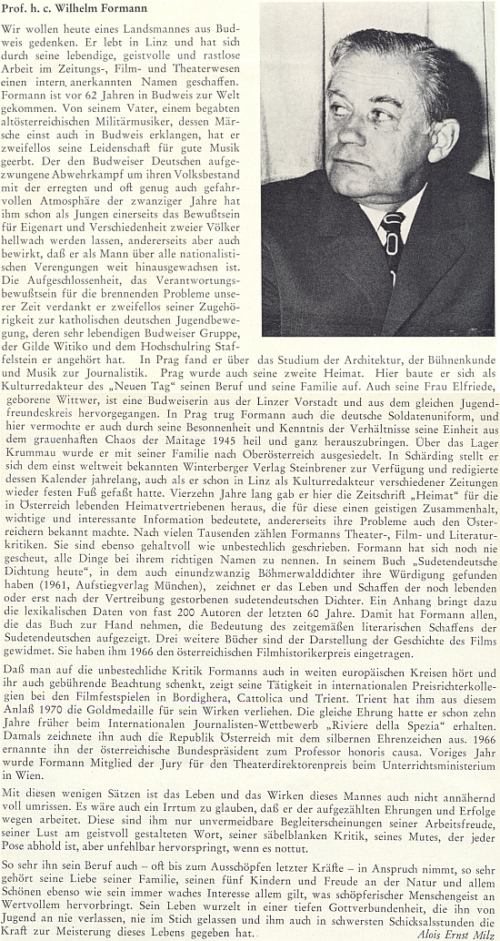 Článek o něm napsal do krajanského měsíčníku Alois Ernst Milz