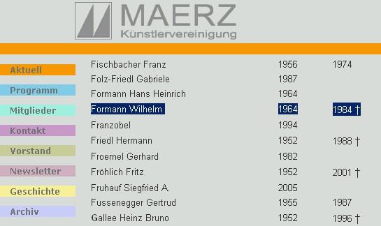 Internetové stránky lineckého uměleckého sdružení Maerz se záznamem o jeho členství spolu např. s Gertrud Fusseneggerovou