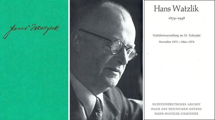 """Obálka, frontispis a titulní list (1973) katalogu jubilejní výstavy k 25. výročí úmrtí Hanse Watzlika, kde Formannův úvodní text nese název """"Ein Kind Böhmens"""", tj. """"Jedno dítě české země"""""""