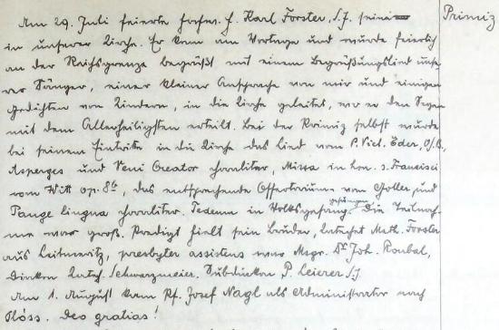 Záznam o jeho primici v kronice farní obce Železná