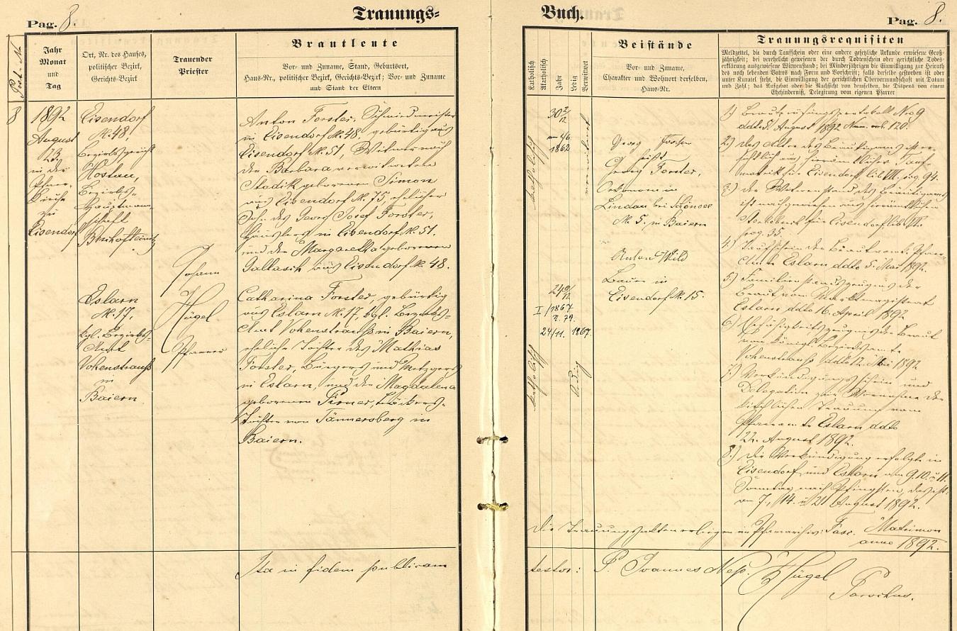 Záznam o svatbě jeho rodičů v oddací matrice farní obce Železná (Eisendorf)