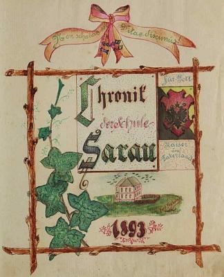 Ozdobný titulní list kroniky kyselovské školy, na níž působil v letech 1893-1904, je jeho dílem, jak prozrazuje signatura na paloučku při školní budově, obletované ptactvem