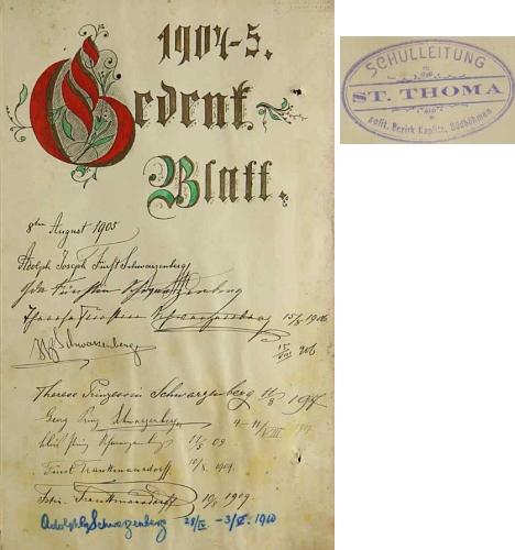 Pamětní list v úvodu kroniky nově zřízené školy ve Svatém Tomáši s podpisy Schwarzenbergů a Trauttmansdorfů, zdobený kresleným písmem Foschumovým