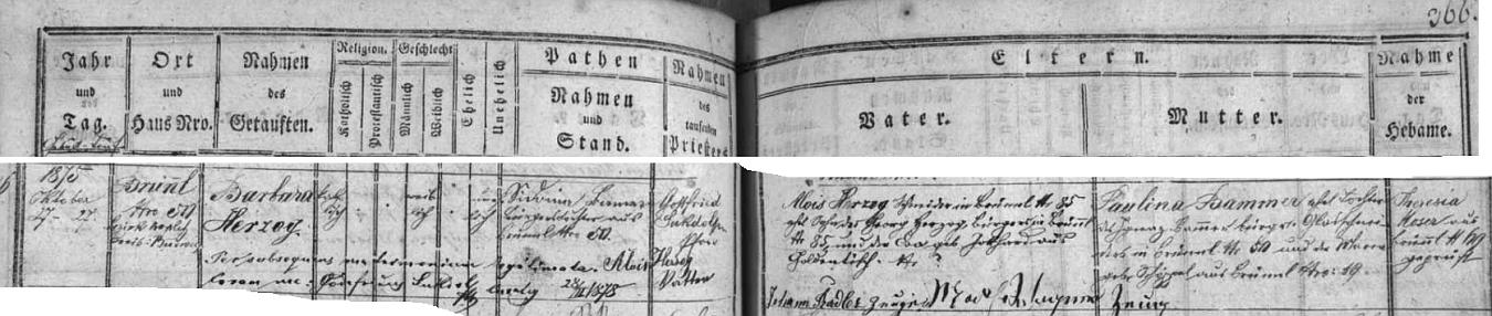 Záznam křestní matriky z Dobré Vody u Nových Hradů o narození jeho ženy Barbary, legitimizované jako dcera zdejšího krejčího Aloise Herzoga teprve více než o dva roky později sňatkem rodičů v únoru 1878
