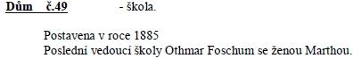 Záznam v kronice zaniklé Dolní Vltavice o budově tamní školy, kterou řídil až do roku 1945 jeho syn Othmar