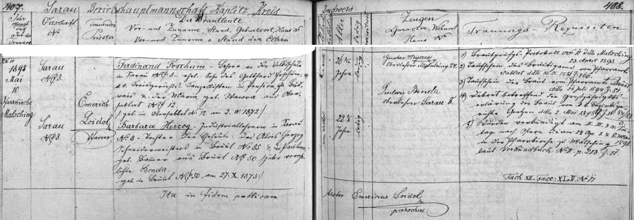 Záznam oddací matriky farní obce Malšín o jeho tamní svatbě dne 10. května roku 1898