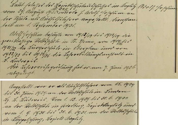 Záznam školní kroniky v někdejším Rychnůvku (tehdy ovšem Německém Rychnově u Frymburka) popisuje učitelskou kariéru jeho syna Adolfa, který odtud později odešel do Žumberka